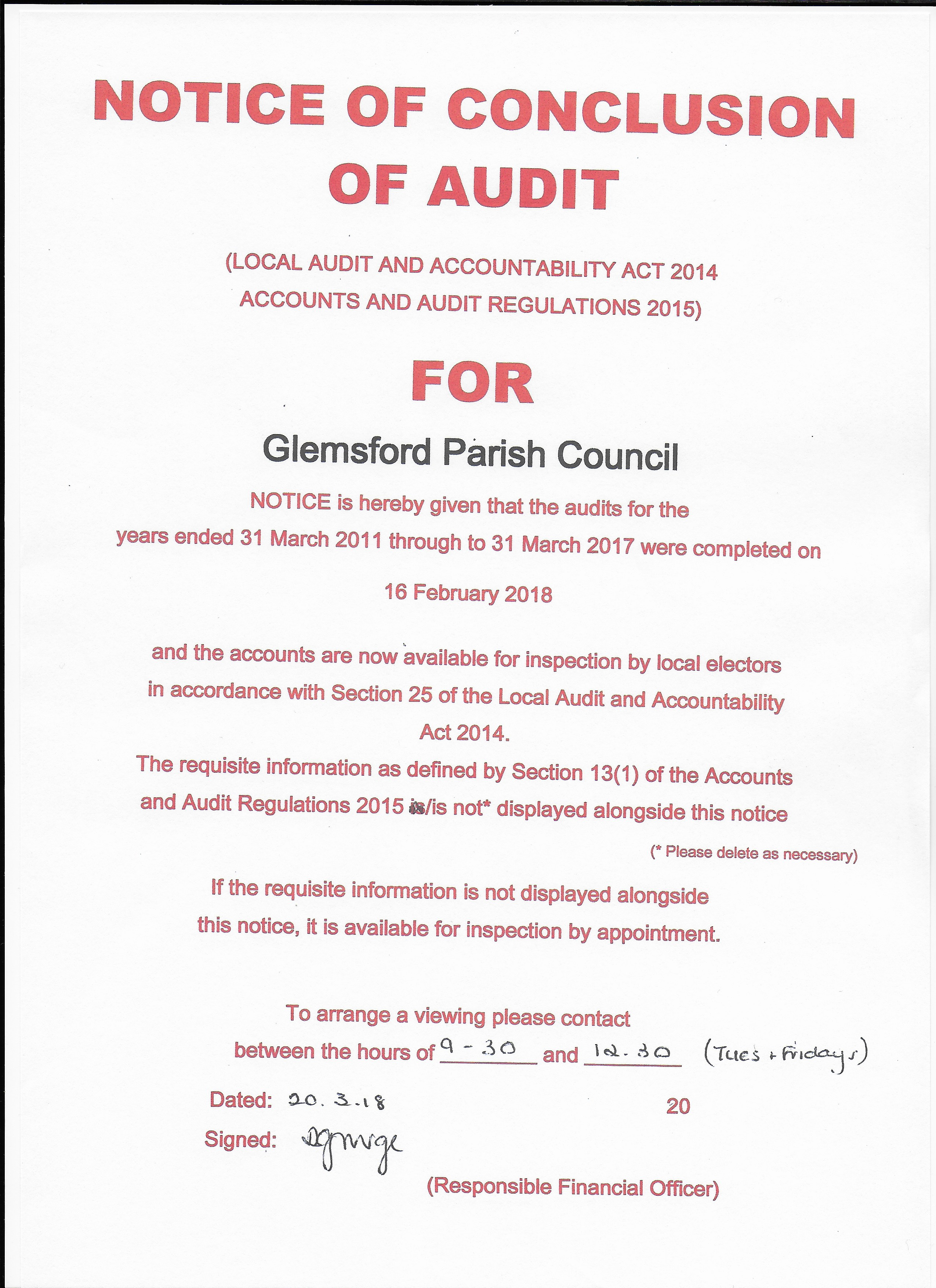 Notice of Conclusion of Audit for Glemsford Parish Council